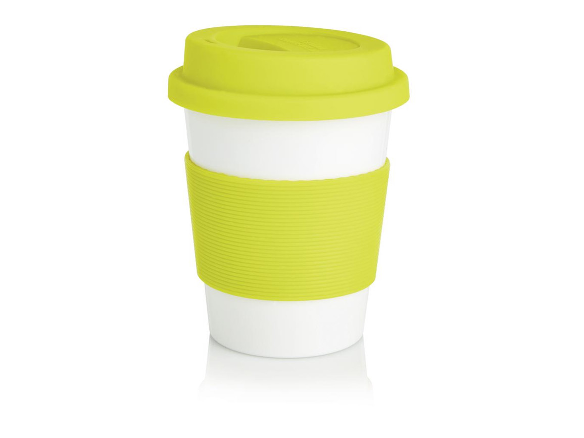 ECO PLA Kaffeebecher limone, weiß bedrucken, Art.-Nr. P432.886