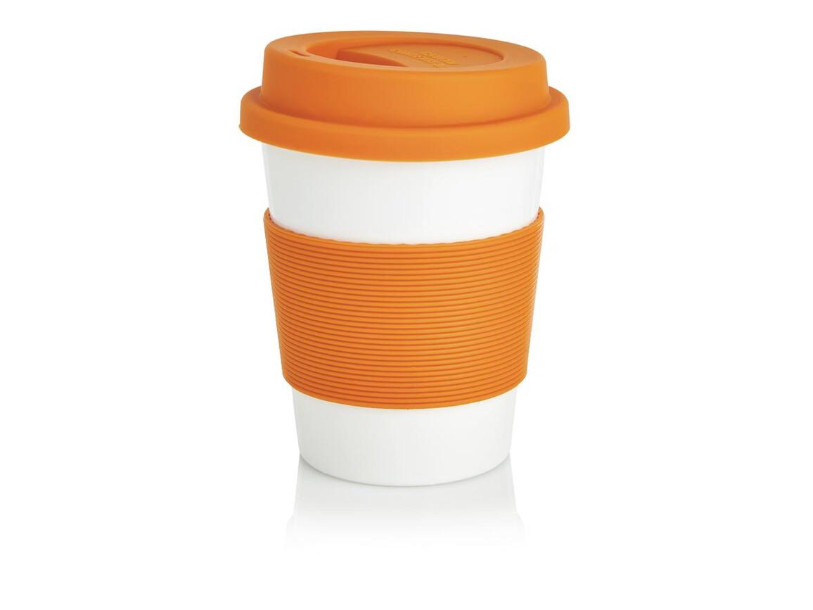 ECO PLA Kaffeebecher orange, weiß bedrucken, Art.-Nr. P432.888