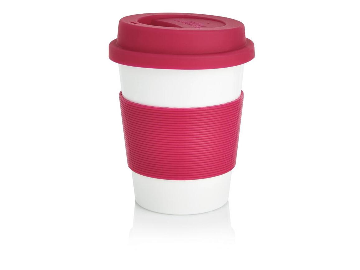 ECO PLA Kaffeebecher rosa, weiß bedrucken, Art.-Nr. P432.889