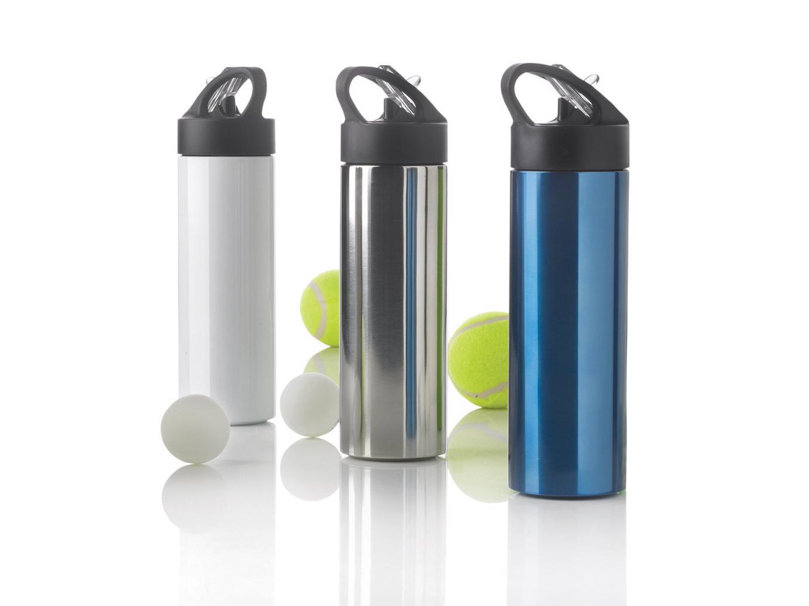 Sport Edelstahlflasche mit Trinkvorrichtung blau bedrucken, Art.-Nr. P433.165