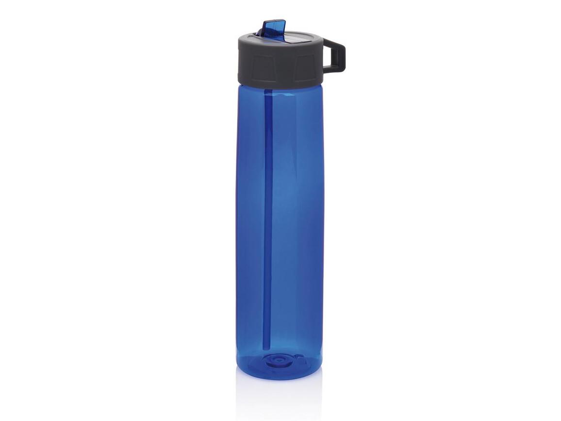 Tritan Trinkflasche mit Strohhalm blau, grau bedrucken, Art.-Nr. P436.305