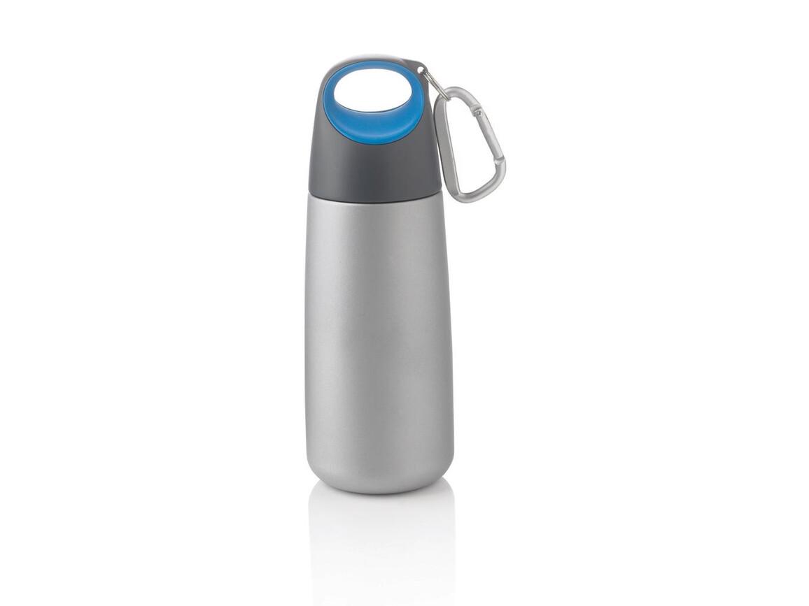 Bopp Mini-Trinkflasche mit Karabiner blau, anthrazit bedrucken, Art.-Nr. P436.505