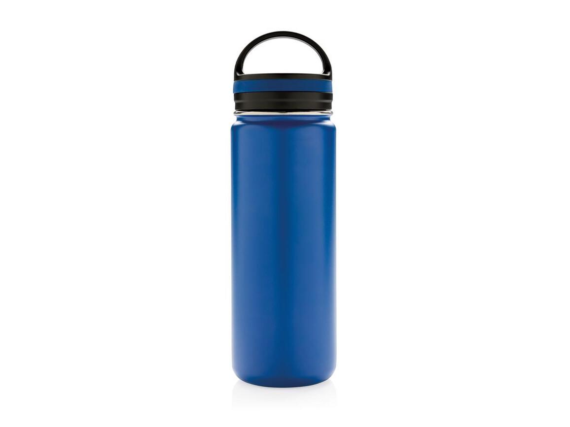 Auslaufsichere Vakuumflasche mit großer Trinköffnung blau bedrucken, Art.-Nr. P436.625