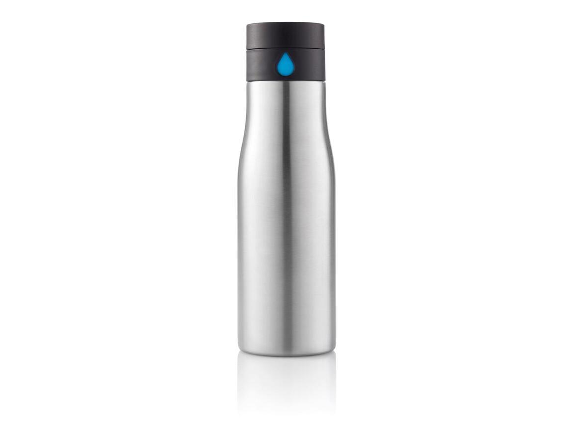 Aqua Auslaufsichere Hydration Flasche grau, blau bedrucken, Art.-Nr. P436.882