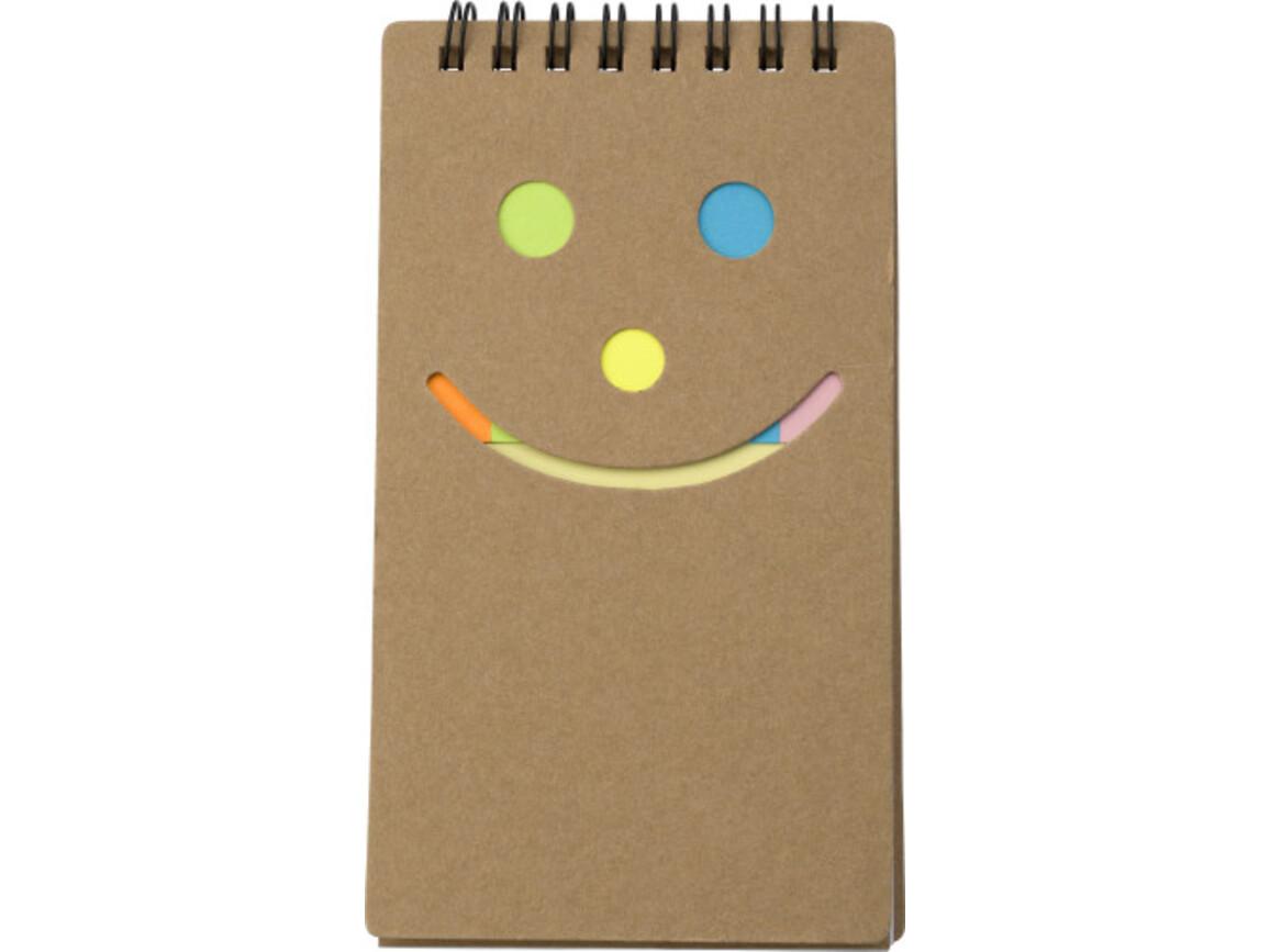 Notizbuch 'Happy face' aus Karton – Braun bedrucken, Art.-Nr. 011999999_5351