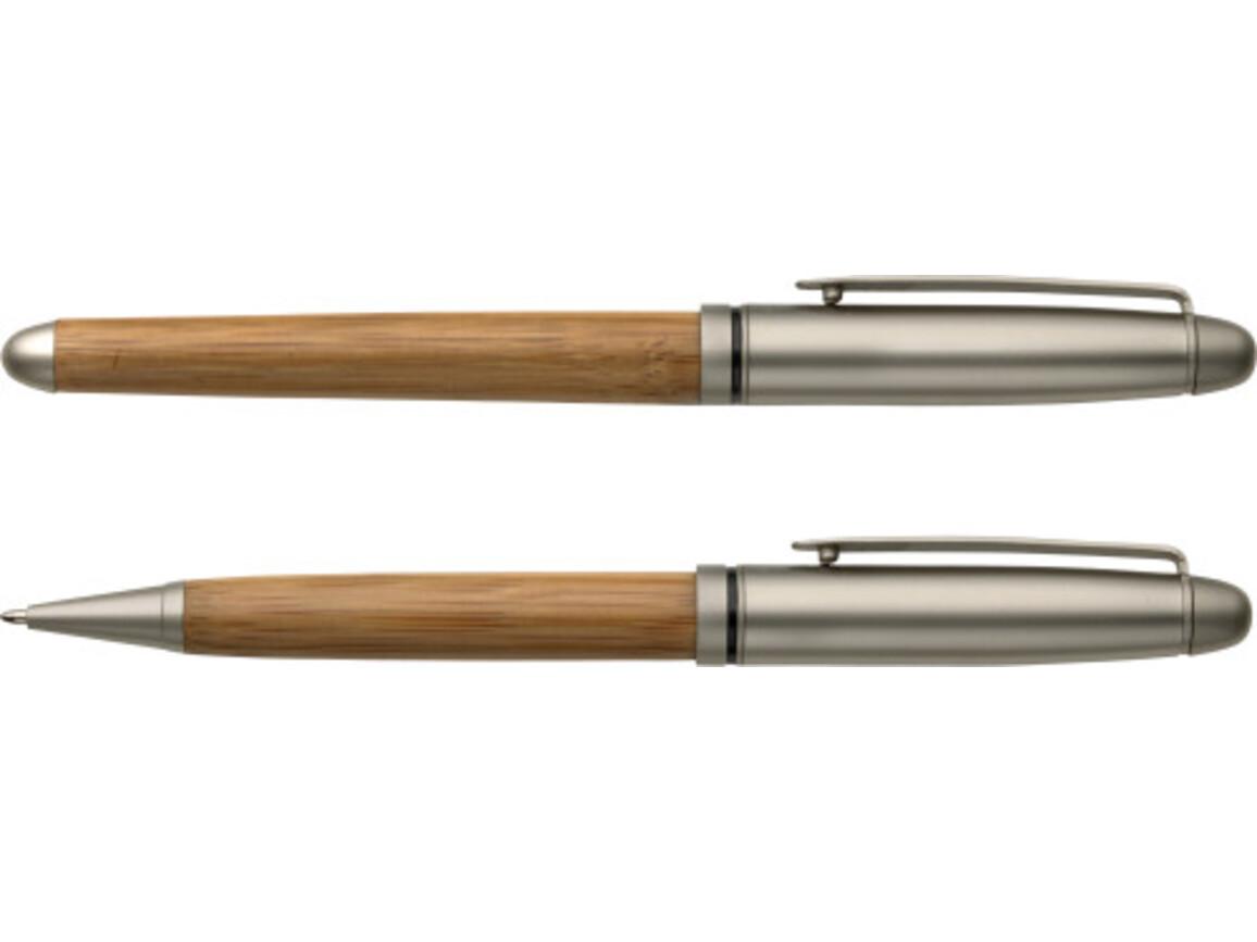 Schreibset 'Schleswig' aus Bambus – Braun bedrucken, Art.-Nr. 011999999_5784
