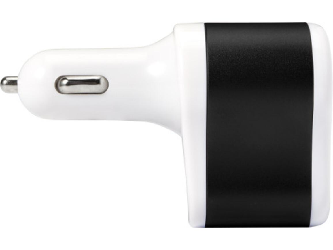 USB-KFZ-Ladestecker 'Smoky' aus Kunststoff – Schwarz bedrucken, Art.-Nr. 001999999_7682