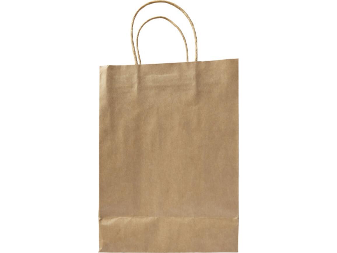Tragetasche 'Medium present' aus recycelten Papier – Braun bedrucken, Art.-Nr. 011999999_7841