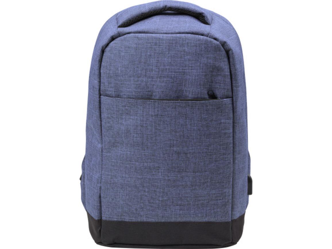 Diebstahlsicherer Rucksack 'Warschau' aus Polyester – Blau bedrucken, Art.-Nr. 005999999_7879