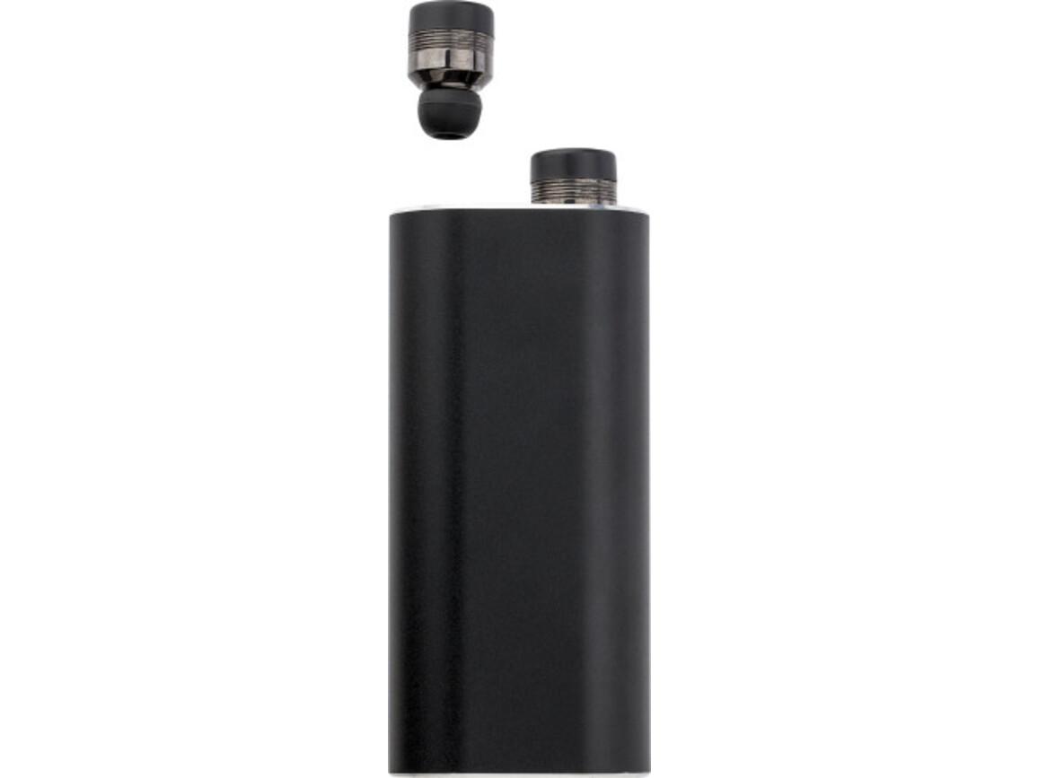 Powerbank 'Listen Up' mit zwei Wireless Kopfhörern – Schwarz bedrucken, Art.-Nr. 001999999_8163