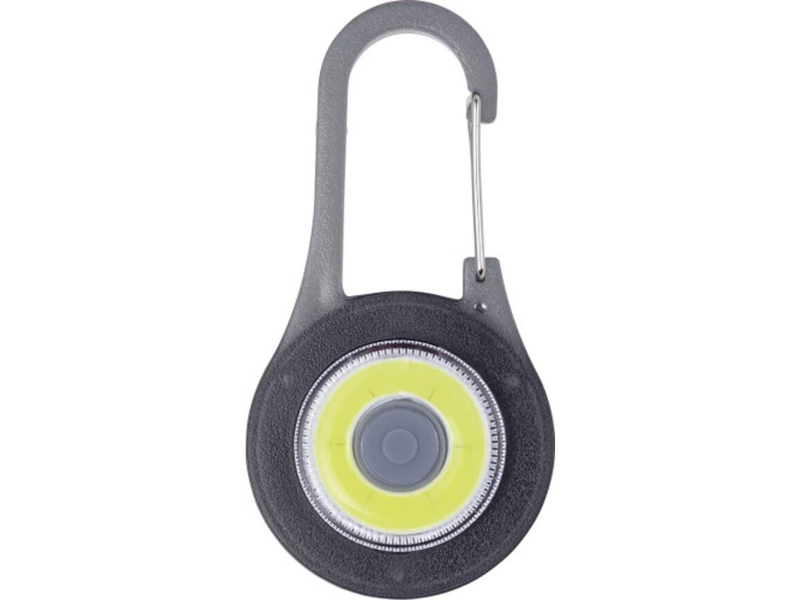 Karabinerhaken 'Reflect' mit LED Licht aus ABS-Kunststoff – Schwarz bedrucken, Art.-Nr. 001999999_8175