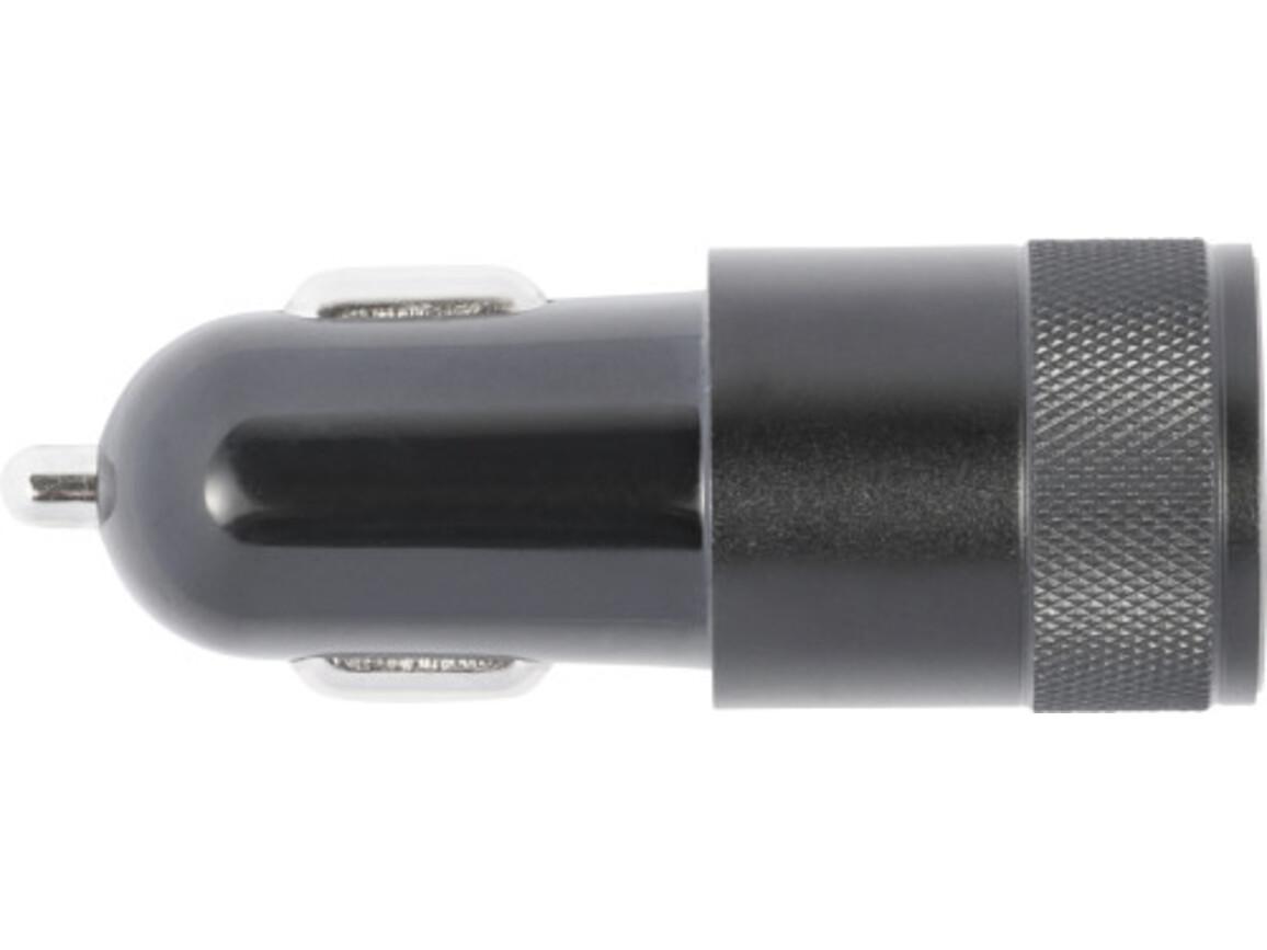 KFZ-Ladestecker 'Strong' aus ABS-Kunststoff ink. USB & USB-C – Schwarz bedrucken, Art.-Nr. 001999999_8268