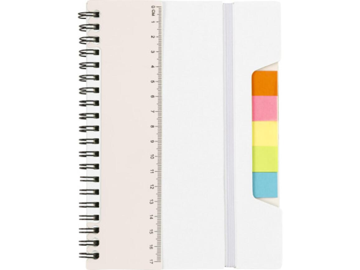 Notizbuch 'Lineal' mit Ringbindung – Weiß bedrucken, Art.-Nr. 002999999_8300