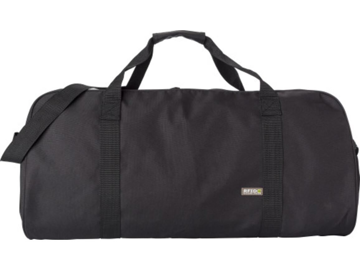Sporttasche 'Diego' aus 600D Polyester mit integriertem RFID Schutz – Schwarz bedrucken, Art.-Nr. 001999999_8491