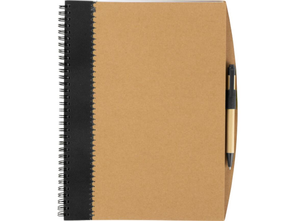 Notizbuch 'Lyrics' aus recycletem Karton mit Stift – Schwarz bedrucken, Art.-Nr. 001999999_8570
