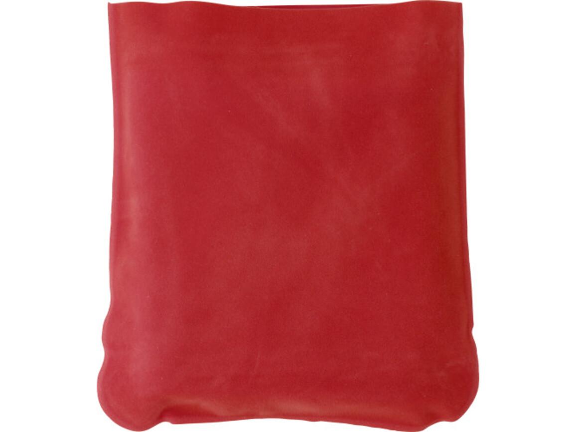 Aufblasbare Nackenstütze 'Trip' inklusive Hülle aus PVC – Rot bedrucken, Art.-Nr. 008999999_9651
