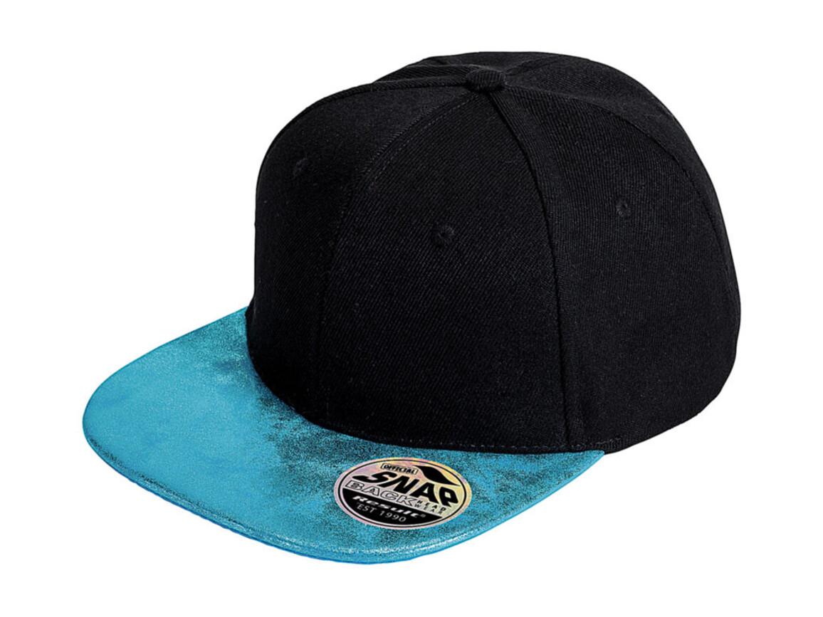 Result Caps Bronx Glitter Flat Peak Snapback Cap, Black/Turquoise, One Size bedrucken, Art.-Nr. 010341430