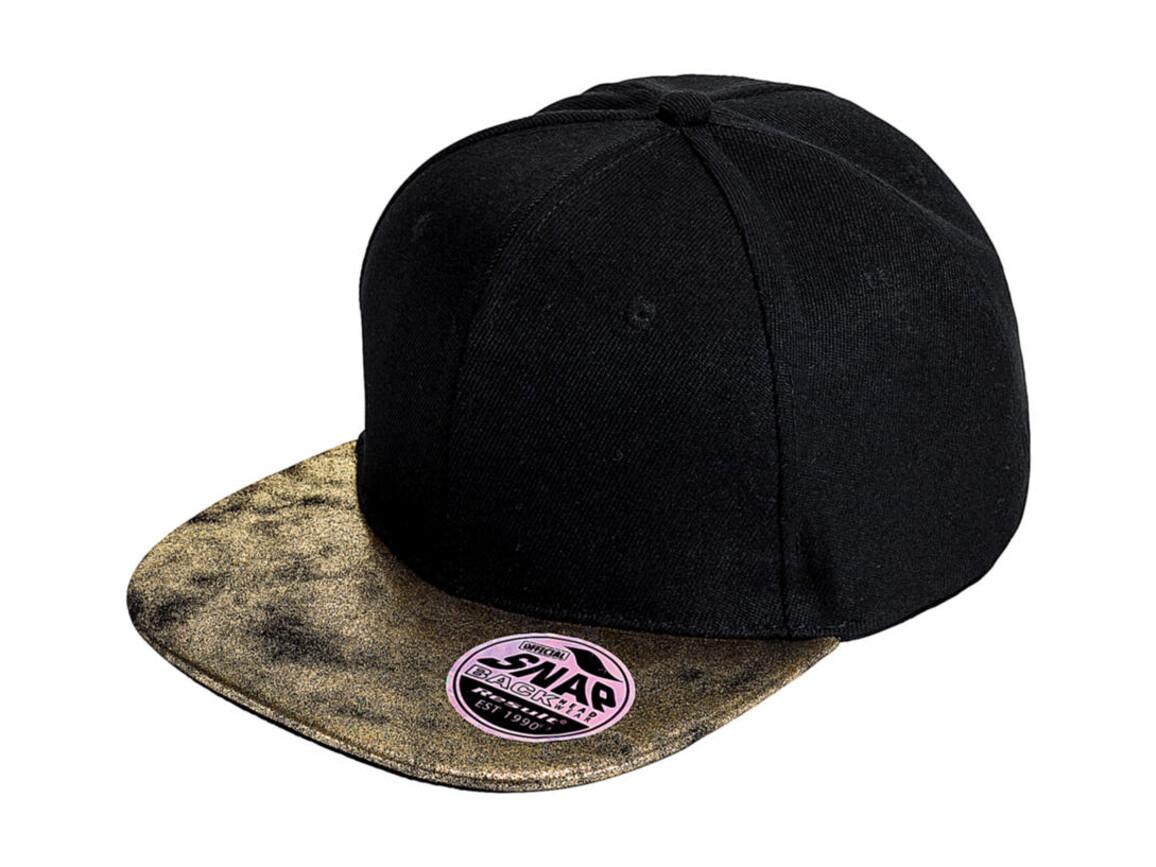 Result Caps Bronx Glitter Flat Peak Snapback Cap, Black/Gold, One Size bedrucken, Art.-Nr. 010341520