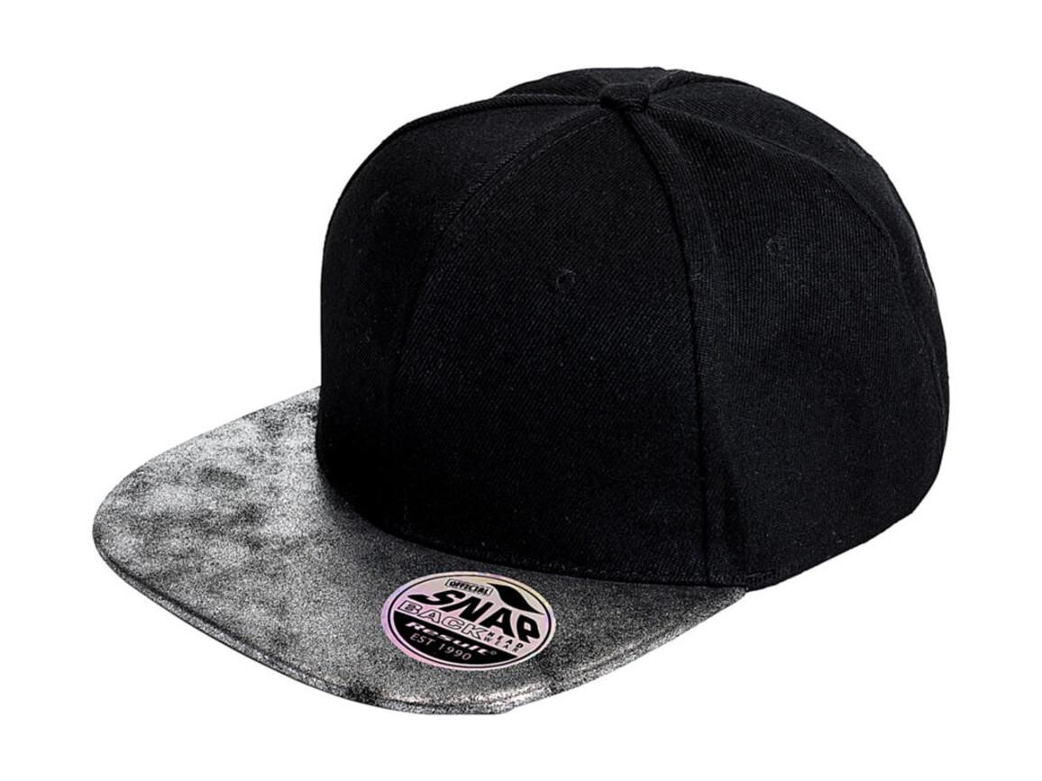 Result Caps Bronx Glitter Flat Peak Snapback Cap, Black/Silver, One Size bedrucken, Art.-Nr. 010341980