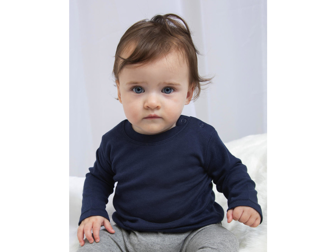 BabyBugz Baby Longsleeve Top, Heather Grey Melange, 6-12 bedrucken, Art.-Nr. 011471263