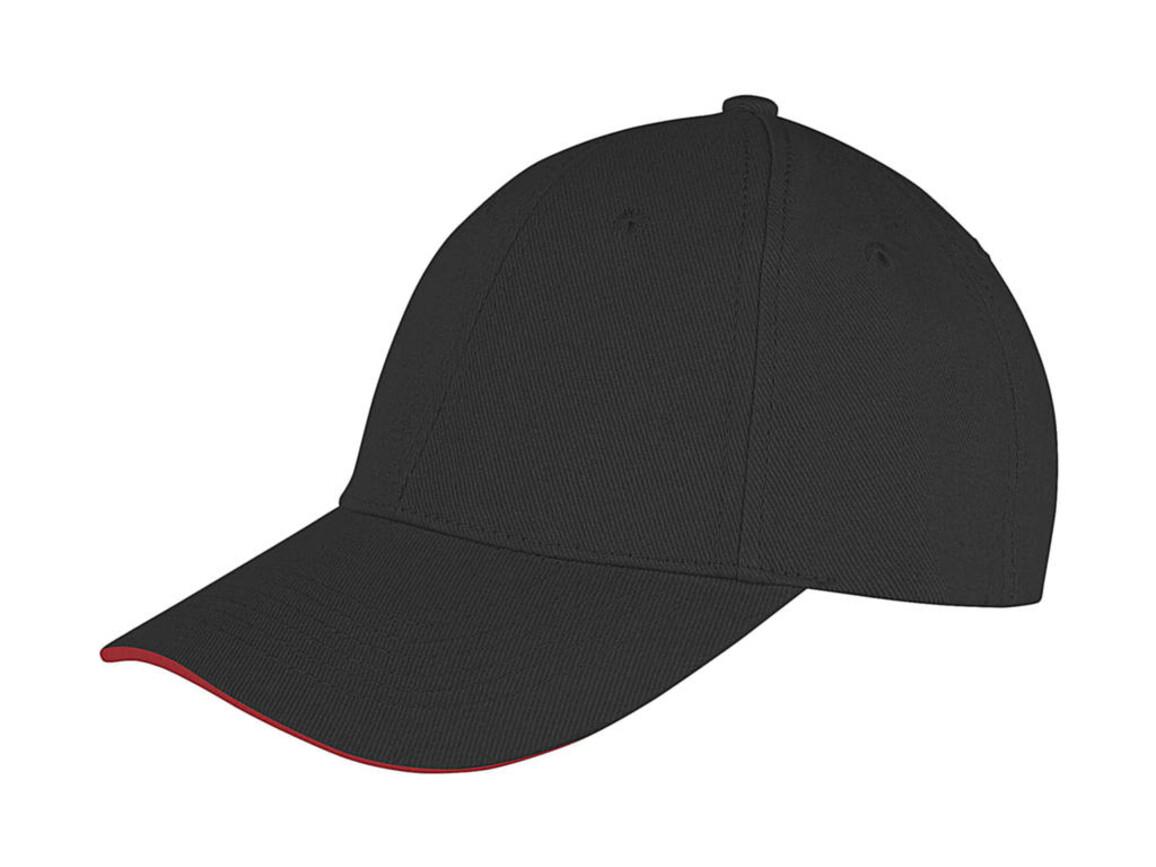 Result Caps Memphis Low Profile Sandwich Peak Cap, Black/Red, One Size bedrucken, Art.-Nr. 012341540