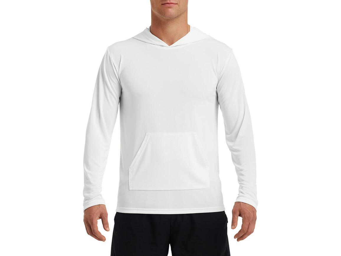 Gildan Performance® Adult Hooded T-Shirt, White, 2XL bedrucken, Art.-Nr. 013090007