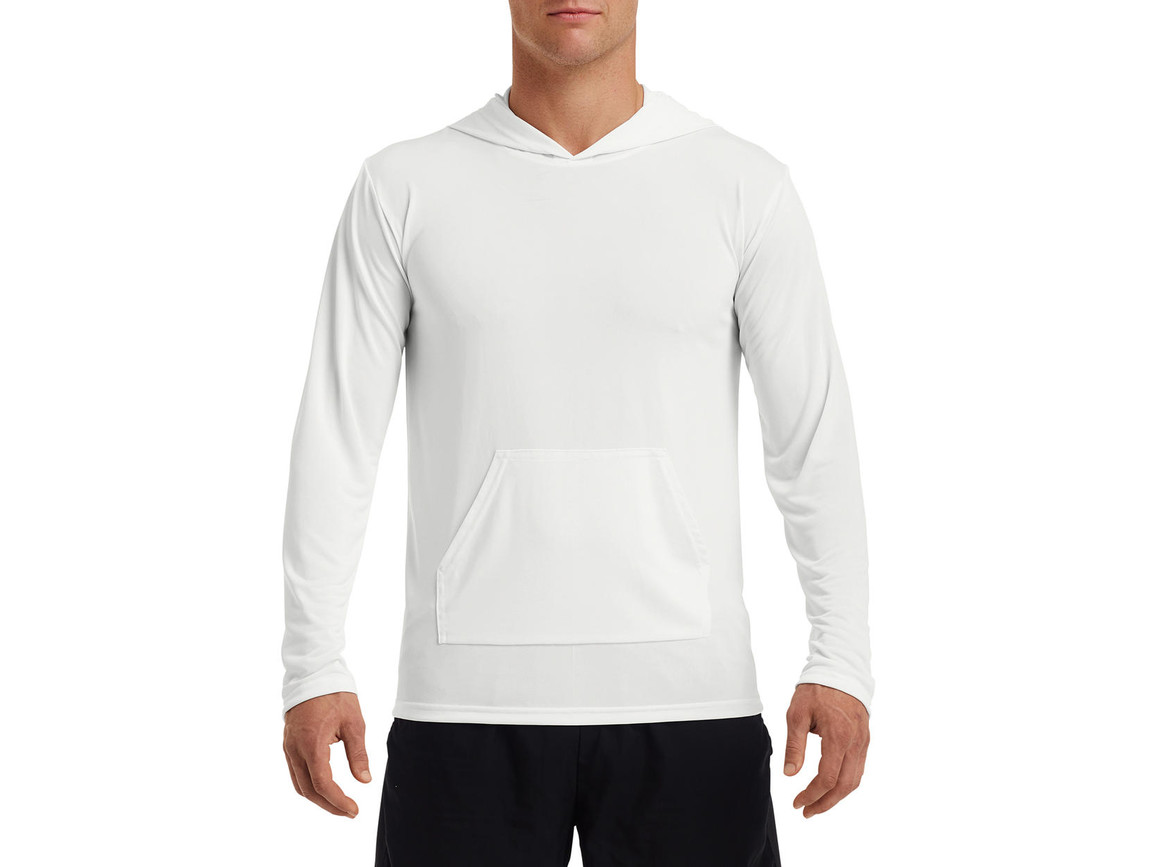 Gildan Performance® Adult Hooded T-Shirt, White, S bedrucken, Art.-Nr. 013090003