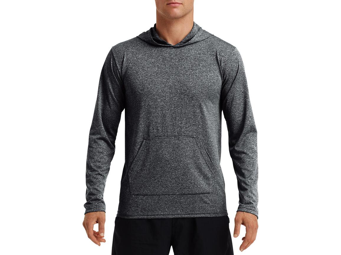 Gildan Performance® Adult Hooded T-Shirt, Heather Sport Black, L bedrucken, Art.-Nr. 013091045
