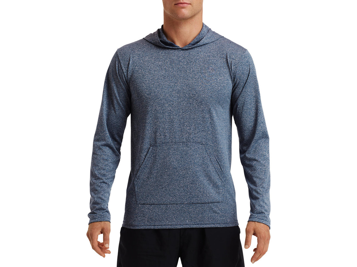 Gildan Performance® Adult Hooded T-Shirt, Heather Sport Dark Navy, 2XL bedrucken, Art.-Nr. 013092137