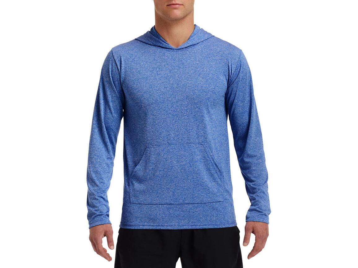 Gildan Performance® Adult Hooded T-Shirt, Heather Sport Royal, L bedrucken, Art.-Nr. 013093125