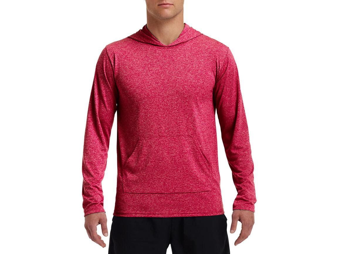 Gildan Performance® Adult Hooded T-Shirt, Heather Sport Scarlet Red, M bedrucken, Art.-Nr. 013094214