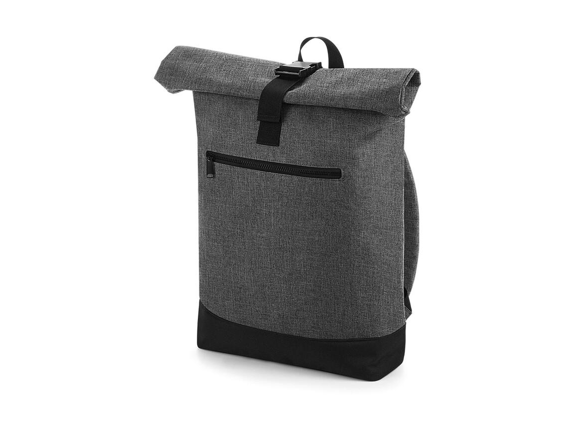 Bag Base Roll-Top Backpack, Grey Marl/Black, One Size bedrucken, Art.-Nr. 017291550