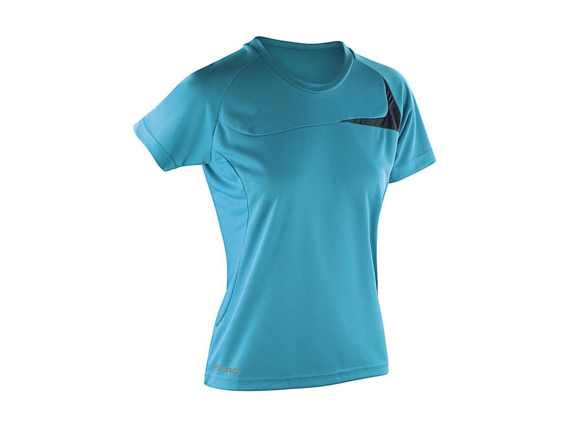 Result Spiro Ladies` Dash Training Shirt, Aqua/Grey, L bedrucken, Art.-Nr. 025333515