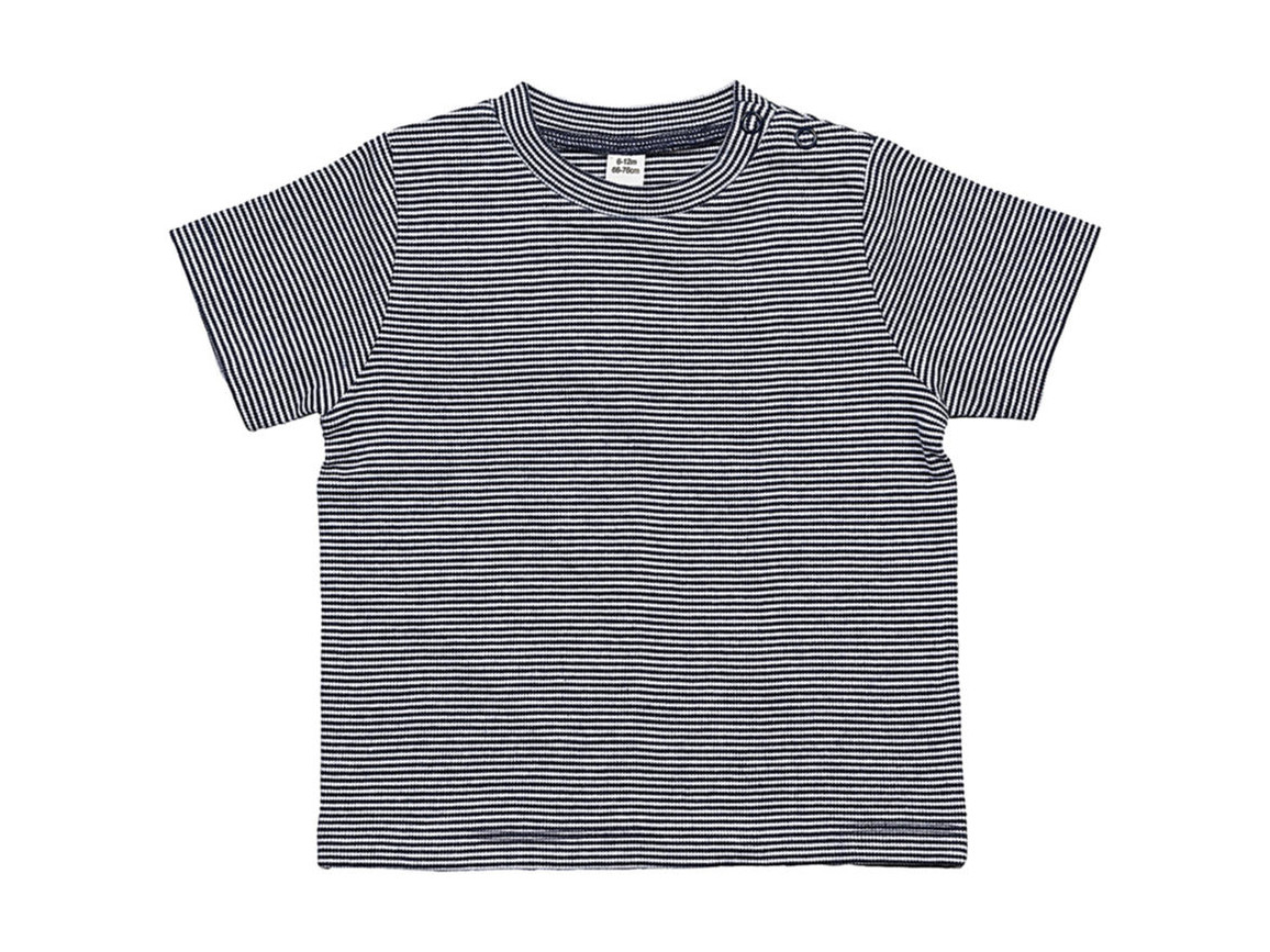 BabyBugz Baby Striped T, White/Nautical Navy, 6-12 bedrucken, Art.-Nr. 060470553