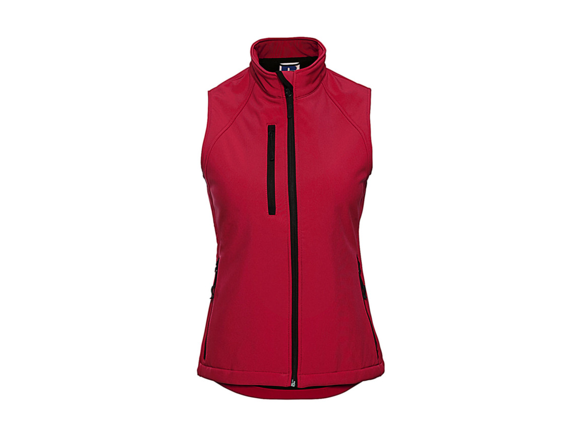 Russell Europe Ladies` Softshell Gilet, Classic Red, S bedrucken, Art.-Nr. 460004013