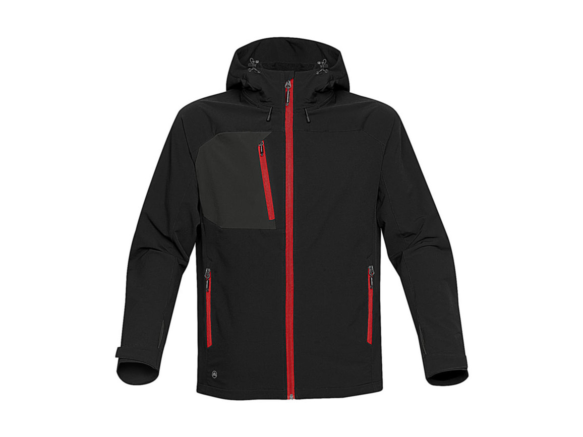 StormTech Sidewinder Softshell Jacket, Black/Bright Red, 2XL bedrucken, Art.-Nr. 467181797