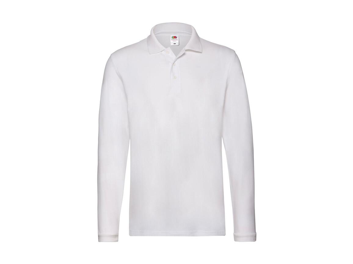 Fruit of the Loom Premium Long Sleeve Polo, White, XL bedrucken, Art.-Nr. 542010006