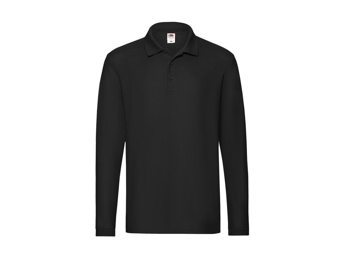 Fruit of the Loom Premium Long Sleeve Polo, Black, XL bedrucken, Art.-Nr. 542011016