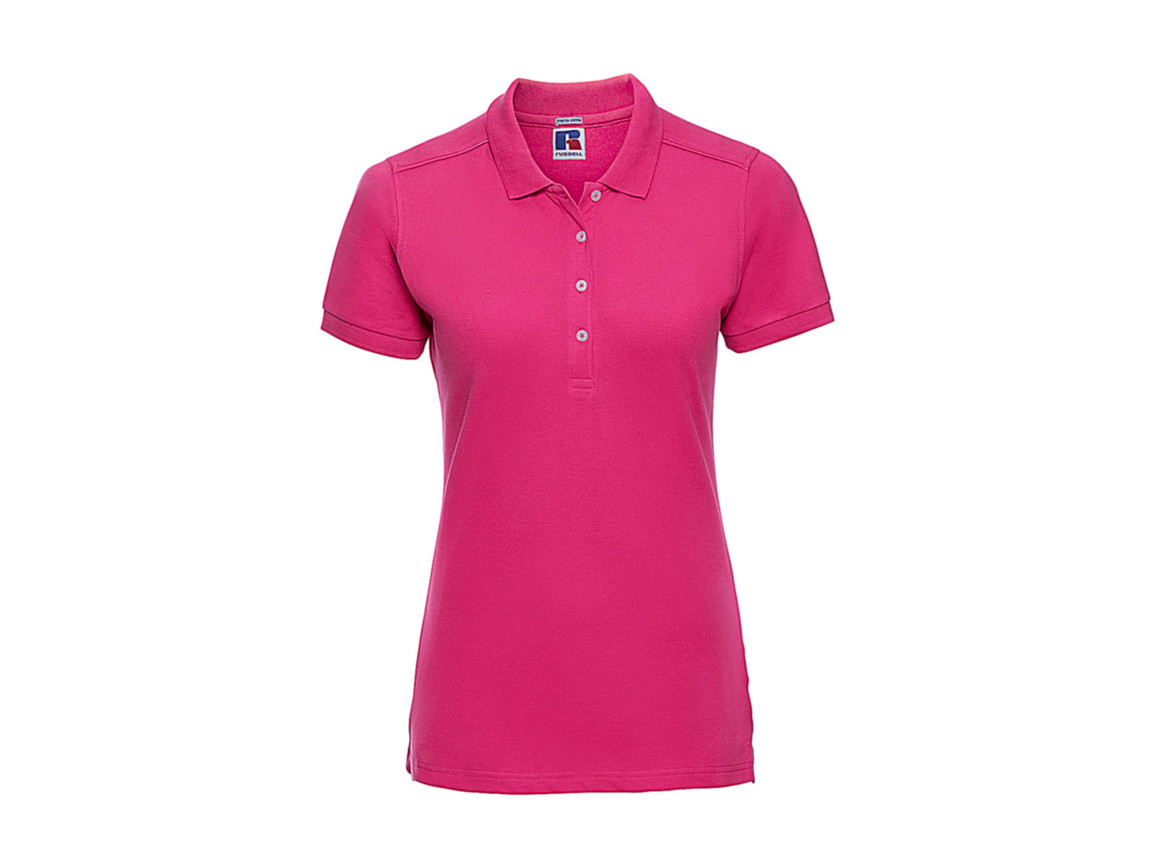 Russell Europe Ladies` Fitted Stretch Polo, Fuchsia, S bedrucken, Art.-Nr. 566004393