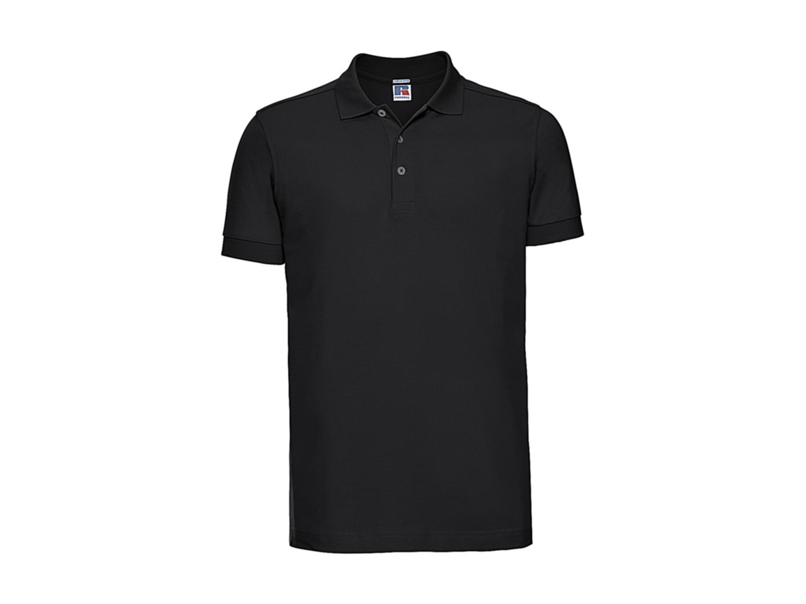 Russell Europe Men`s Fitted Stretch Polo, Black, S bedrucken, Art.-Nr. 567001013