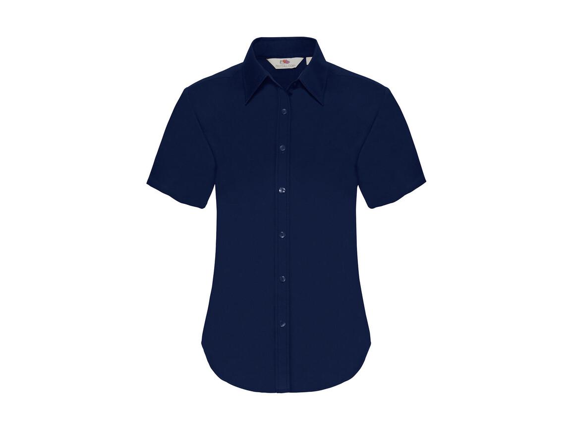 Fruit of the Loom Ladies` Oxford Shirt SS, Navy, XL bedrucken, Art.-Nr. 701012006