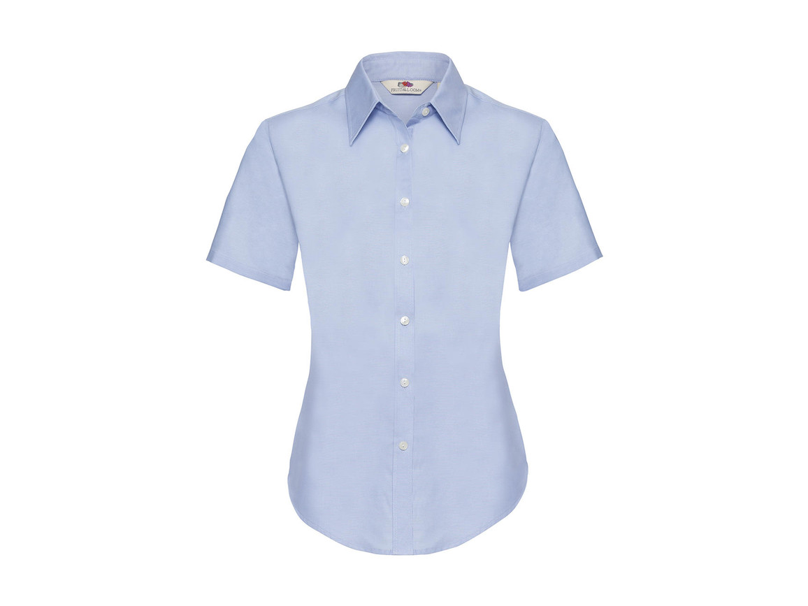 Fruit of the Loom Ladies` Oxford Shirt SS, Oxford Blue, 3XL bedrucken, Art.-Nr. 701013268