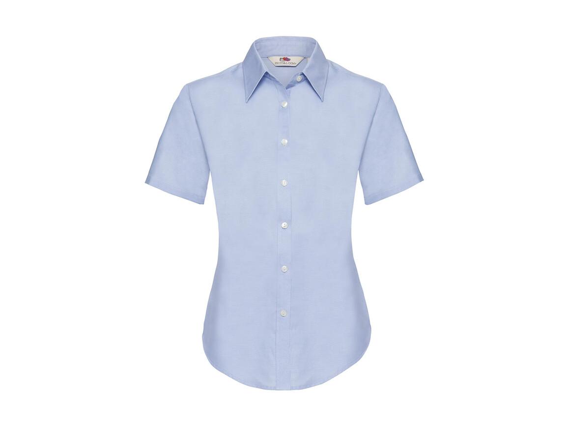 Fruit of the Loom Ladies` Oxford Shirt SS, Oxford Blue, XL bedrucken, Art.-Nr. 701013266