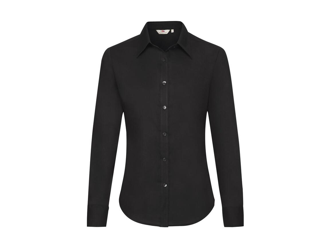 Fruit of the Loom Ladies` Oxford Shirt LS, Black, 3XL bedrucken, Art.-Nr. 702011018