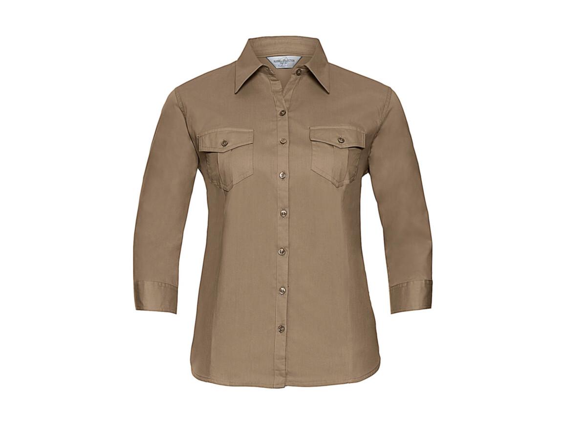 Russell Europe Ladies` Roll 3/4 Sleeve Shirt, Khaki, M (38) bedrucken, Art.-Nr. 748007314