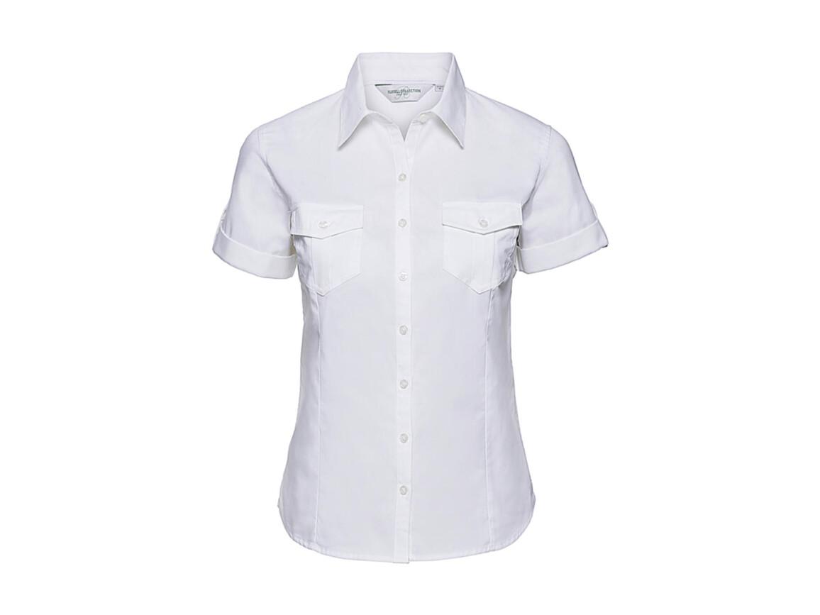 Russell Europe Ladies` Roll Sleeve Shirt, White, M (38) bedrucken, Art.-Nr. 749000004