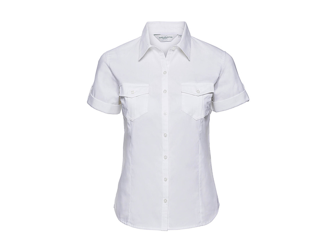 Russell Europe Ladies` Roll Sleeve Shirt, White, S (36) bedrucken, Art.-Nr. 749000003