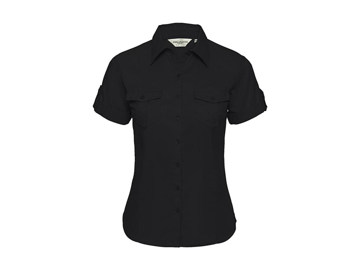 Russell Europe Ladies` Roll Sleeve Shirt, Black, S (36) bedrucken, Art.-Nr. 749001013