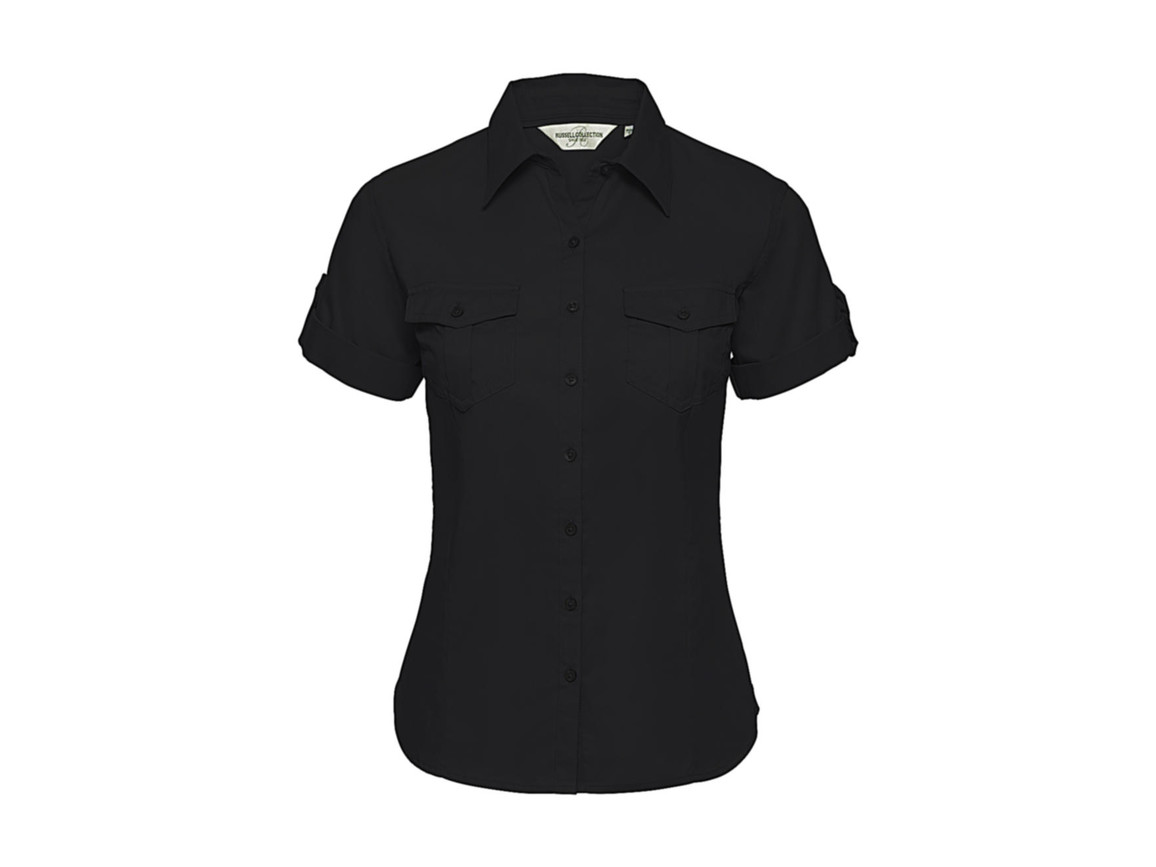 Russell Europe Ladies` Roll Sleeve Shirt, Black, XS (34) bedrucken, Art.-Nr. 749001012