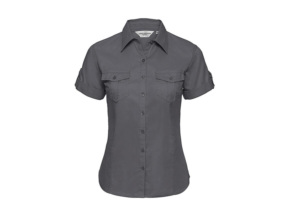 Russell Europe Ladies` Roll Sleeve Shirt, Zinc, L (40) bedrucken, Art.-Nr. 749001125